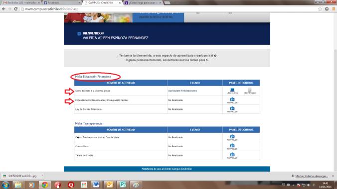 las flechas indican los cursos que debe realizar el resto es opcional solo los que se indican son obligatorios
