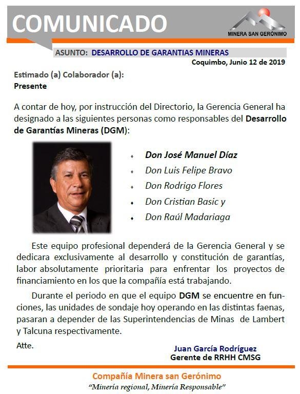 2019.06.12.COMUNICADO - Desarrollo de Garantias Mineras