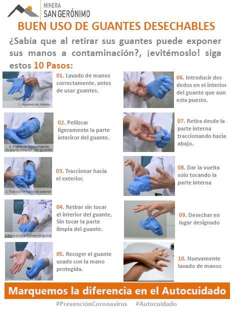 uso de guantes desechables
